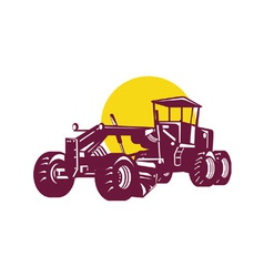 Vintage road grader retro vector