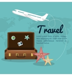 Travel suitcase airplane design vector