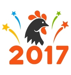 2017 rooster year celebration fireworks flat vector