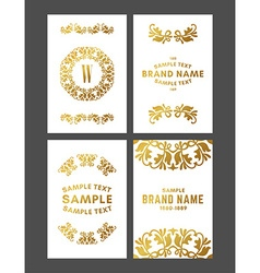 Set of floral decorative logo frame border and vector