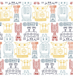 colorful seamless pattern with retro robots vector image