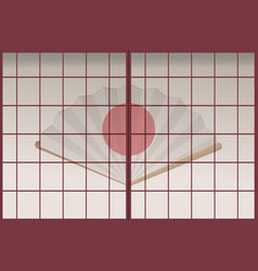 Japan old door background template vector