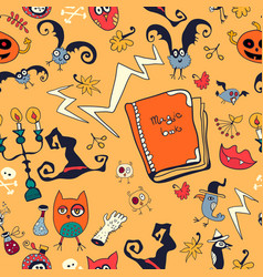 halloween hand drawn pattern with monsters vector image