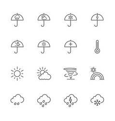 Weather line icons vector
