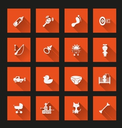 Baby icons long shadow vector