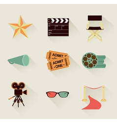 cinema icons retro vector image