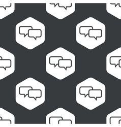 Black hexagon chat pattern vector