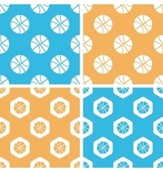 Basketball pattern set colored vector