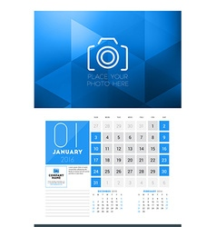 Calendar for 2016 year january design clean vector