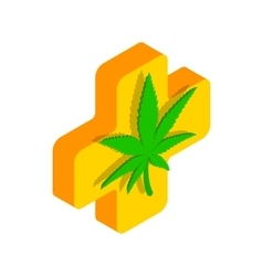 Marijuana leaf with a cross icon vector