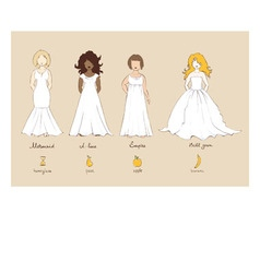 Wedding dress and female types of figures vector