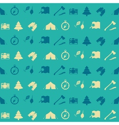 Seamless pattern with camping icons vector