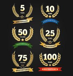 Anniversary golden banners vector