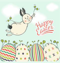 Beautiful easter card with flying easter bunny on vector