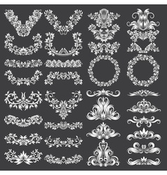 Big set of ornamental elements for design White vector image vector image