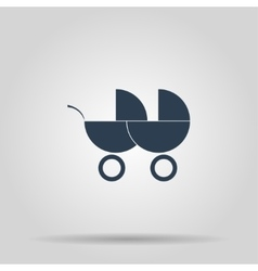 Carriage for two baby web icon vector