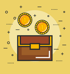 Chest with golden coin video game treasure vector
