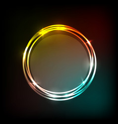 colorful neon circles banner abstract background vector image