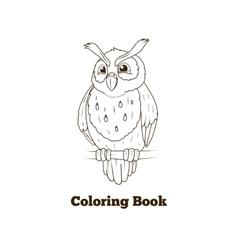 Coloring book forest owl bird cartoon vector image vector image