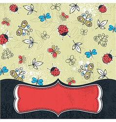 grunge background with butterflies vector image vector image