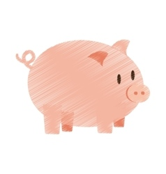 Hand draw piggy money bank color vector
