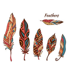 hand drawn boho feathers collection set of doodle vector image