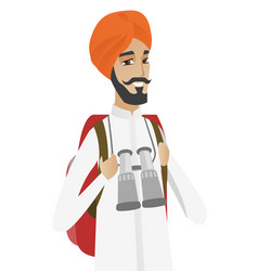 Hindu traveler man with backpack and binoculars vector