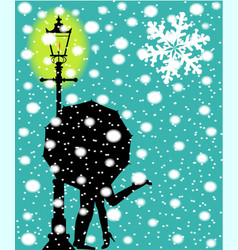 Lamp post in the snow vector