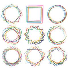 line shape art frame set 04 vector image