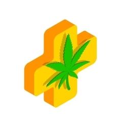 Marijuana leaf with a cross icon vector image