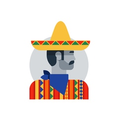 Mexican man in sombrero and poncho side view vector