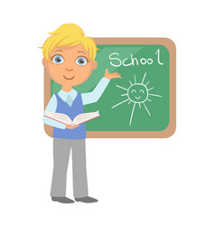 schoolboy standing near the blackboard and writing vector image vector image
