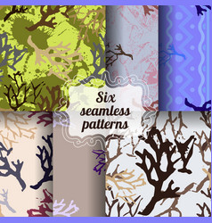Set of botanic seamless patterns vector