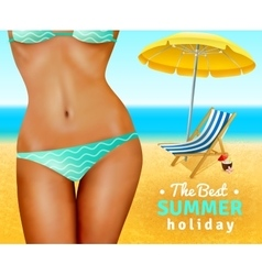 Slim Sexy Woman On Beach vector image vector image
