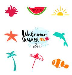summer hand drawn beach doodle set vector image