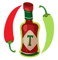 Tomato ketchup with hot pepper hot sauce vector