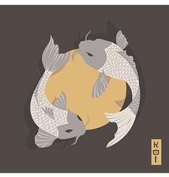 Two carp koi fish swimming around Sun traditional vector image vector image