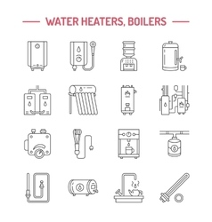 Water boiler thermostat electric gas solar vector