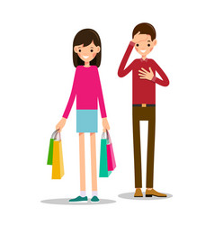 young girl stands and holds shopping bags in both vector image vector image