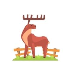 Brown deer with wide antlers standing on green vector