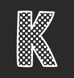 K alphabet letter with white polka dots on black vector