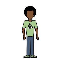 Colorful caricature image faceless brunette man vector