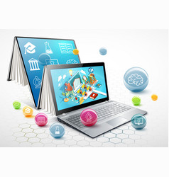 Laptop as a book the concept of learning vector