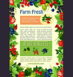 Poster of farm fresh berries and fruits vector
