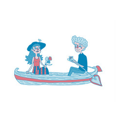 Young couple sailing on a boat dating vector