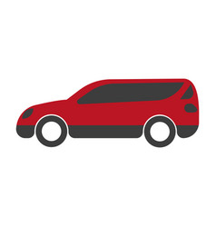 Spacious red family car with big trunk isolated vector