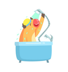 Cute cartoon cow taking a shower in a bathtub vector
