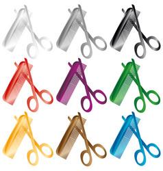 barber comb and scissors a set of several colors vector image