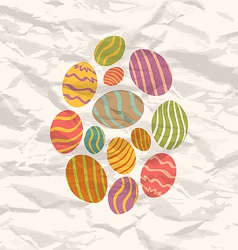 Set easter eggs vintage celebration background vector