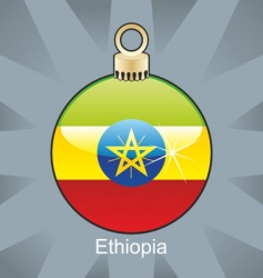Ethiopia flag on bulb vector